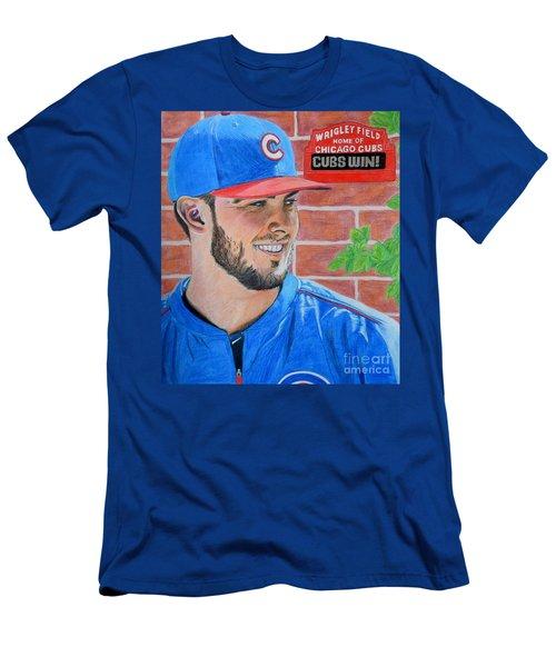 Chicago Cubs Kris Bryant Portrait Men's T-Shirt (Slim Fit) by Melissa Goodrich