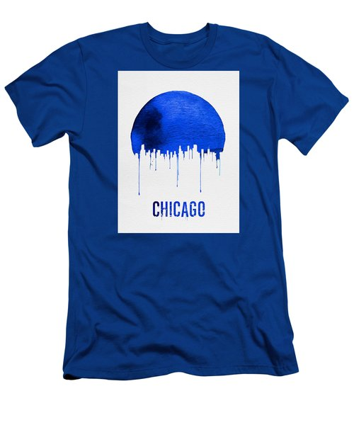 Chicago Skyline Blue Men's T-Shirt (Slim Fit) by Naxart Studio