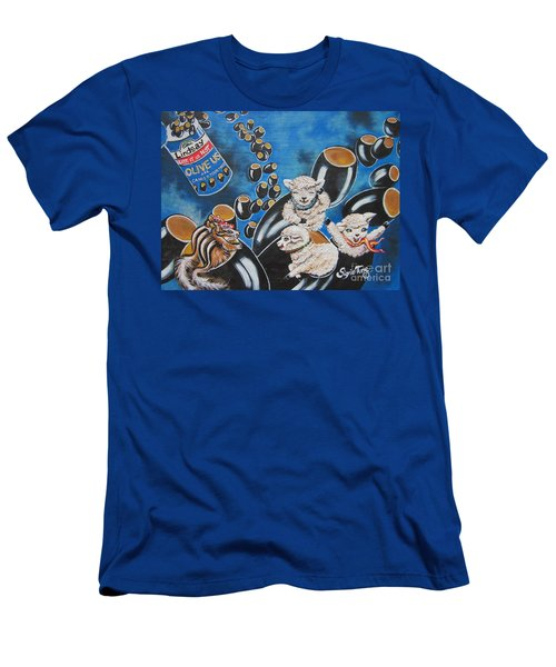 Men's T-Shirt (Slim Fit) featuring the painting Chip And Dip In Space Olives by Sigrid Tune