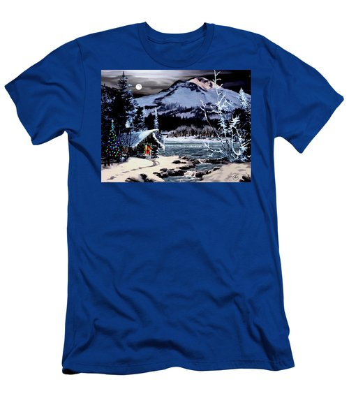 Christmas At The Lake V2 Men's T-Shirt (Slim Fit) by Ron Chambers