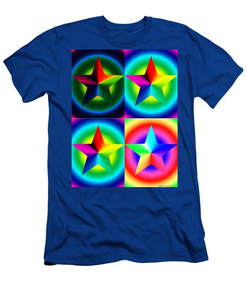 Chromatic Star Quartet With Ring Gradients Men's T-Shirt (Athletic Fit)