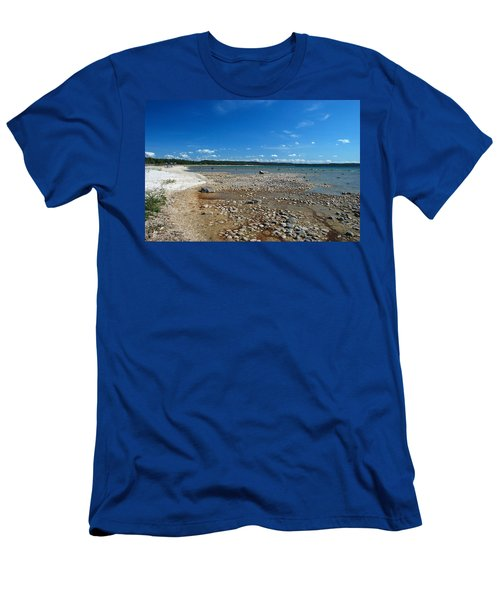 Men's T-Shirt (Slim Fit) featuring the photograph Coastline Of Lake Michigan  Near Petoskey State Park - Little Traverse Bay by Janice Adomeit