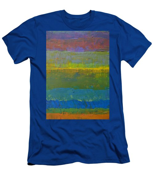 Men's T-Shirt (Slim Fit) featuring the painting Color Collage Five by Michelle Calkins