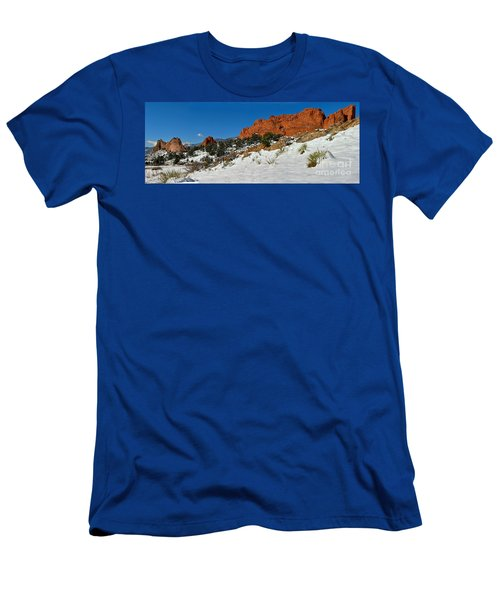 Men's T-Shirt (Slim Fit) featuring the photograph Colorado Winter Red Rock Garden by Adam Jewell