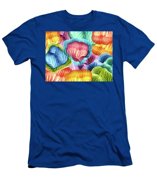 Colorful Abstract Flower Petals Men's T-Shirt (Athletic Fit)