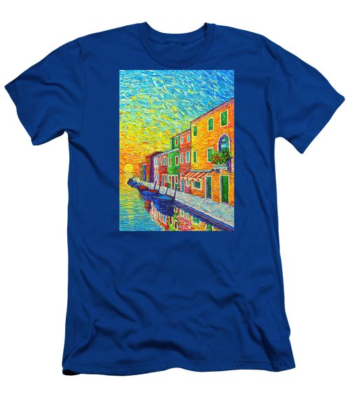 Colorful Burano Sunrise - Venice - Italy - Palette Knife Oil Painting By Ana Maria Edulescu Men's T-Shirt (Slim Fit) by Ana Maria Edulescu