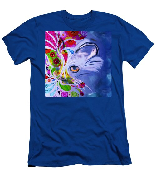 Men's T-Shirt (Slim Fit) featuring the mixed media Colorful Cat World by Gabriella Weninger - David