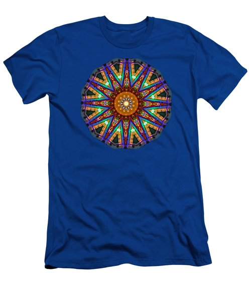 Colorful Christmas Kaleidoscope By Kaye Menner Men's T-Shirt (Slim Fit) by Kaye Menner