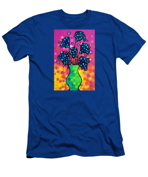 Men's T-Shirt (Slim Fit) featuring the painting Colorful Flower Bouquet By Sharon Cummings by Sharon Cummings
