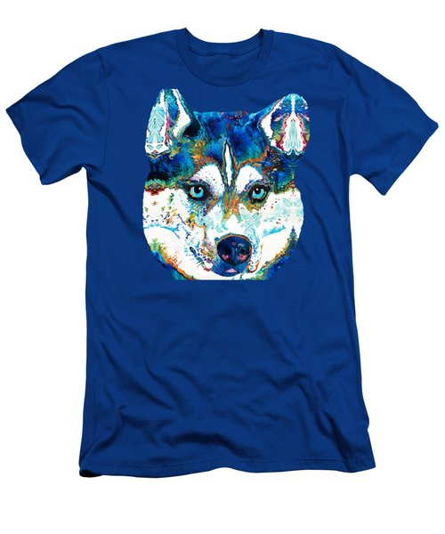 Colorful Husky Dog Art By Sharon Cummings Men's T-Shirt (Athletic Fit)
