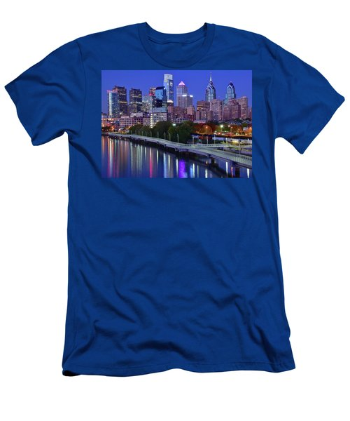 Men's T-Shirt (Slim Fit) featuring the photograph Colorful Philly Night Lights by Frozen in Time Fine Art Photography