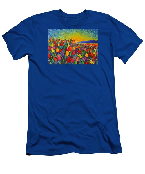 Colorful Tulips Field Sunrise - Abstract Impressionist Palette Knife Painting By Ana Maria Edulescu Men's T-Shirt (Slim Fit) by Ana Maria Edulescu