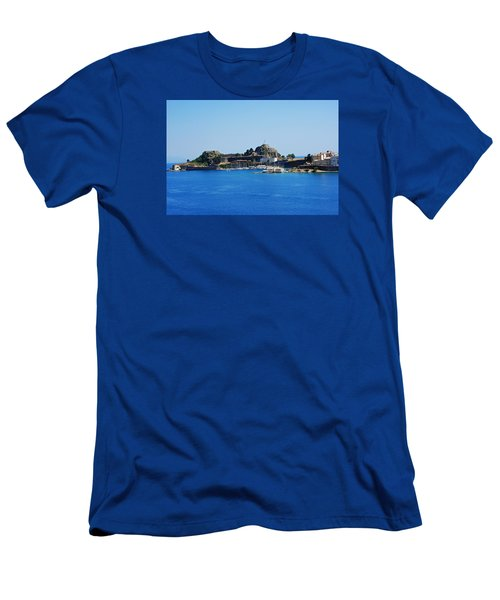 Corfu Fortress On Blue Water Men's T-Shirt (Athletic Fit)