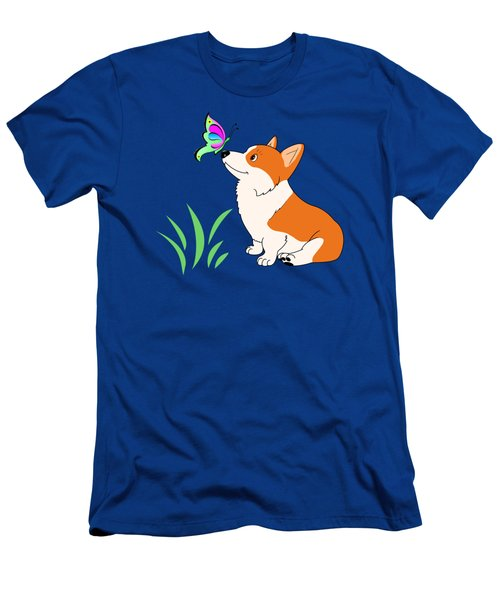 Men's T-Shirt (Slim Fit) featuring the drawing Corgi With Butterfly T-shirt by Kathy Kelly