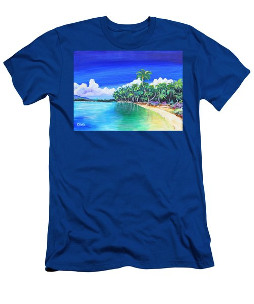 Men's T-Shirt (Slim Fit) featuring the painting Crescent Beach by Patricia Piffath