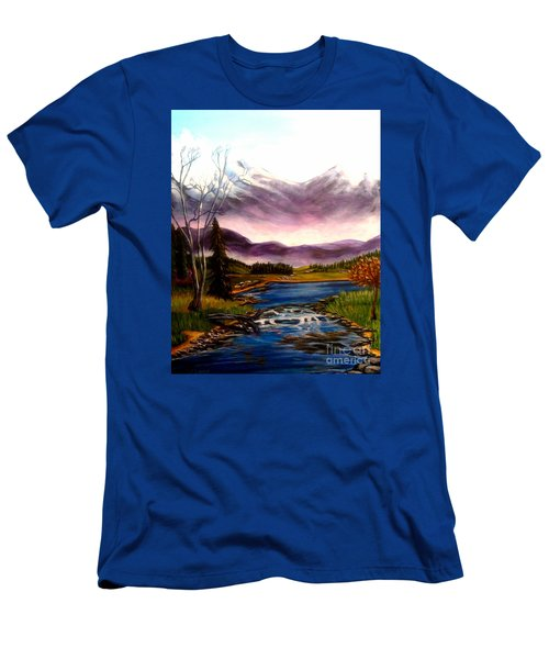 Men's T-Shirt (Slim Fit) featuring the painting Crystal Lake With Snow Capped Mountains by Kimberlee Baxter