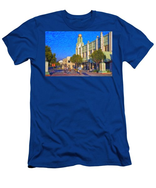 Men's T-Shirt (Slim Fit) featuring the photograph Culver City Plaza Theaters   by David Zanzinger