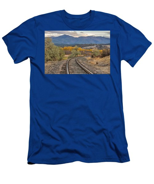 Men's T-Shirt (Slim Fit) featuring the photograph Curve In The Tracks In Autumn by Sue Smith