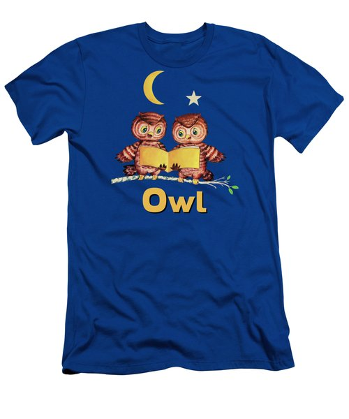 Cute Baby Owls Starry Night And Moon Men's T-Shirt (Athletic Fit)