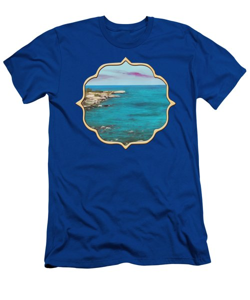 Men's T-Shirt (Athletic Fit) featuring the painting Cyprus - Protaras by Anastasiya Malakhova