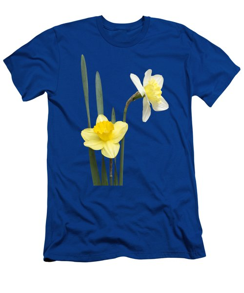 Men's T-Shirt (Slim Fit) featuring the photograph Daffodil Pair - Transparent by Nikolyn McDonald