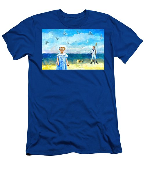Men's T-Shirt (Slim Fit) featuring the digital art Day At The Shore by Alexis Rotella