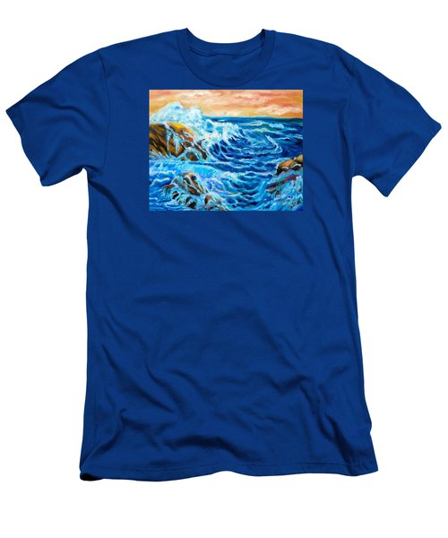 Men's T-Shirt (Slim Fit) featuring the painting Deep by Jenny Lee
