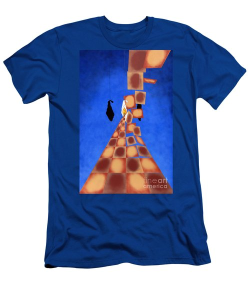 Disrupted Egg Path On Blue Men's T-Shirt (Athletic Fit)