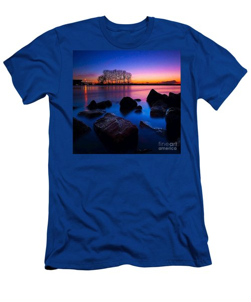 Distant Shores At Night Men's T-Shirt (Slim Fit) by Rod Jellison
