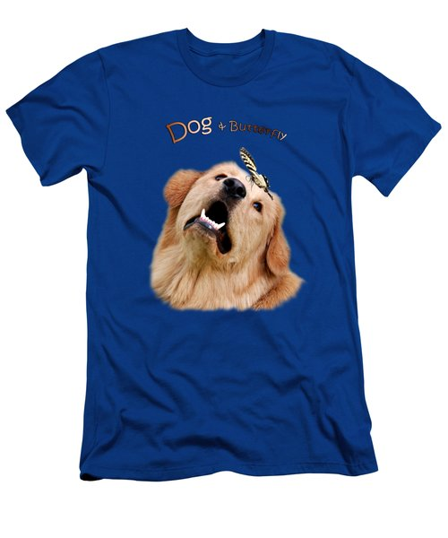 Dog And Butterfly Men's T-Shirt (Slim Fit) by Christina Rollo
