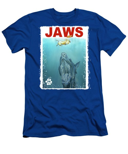 Dog-themed Jaws Caricature Art Print Men's T-Shirt (Athletic Fit)