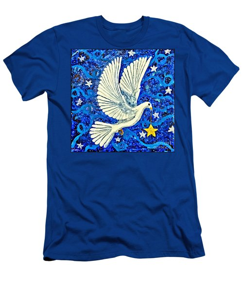 Men's T-Shirt (Athletic Fit) featuring the painting Dove With Star by Lise Winne