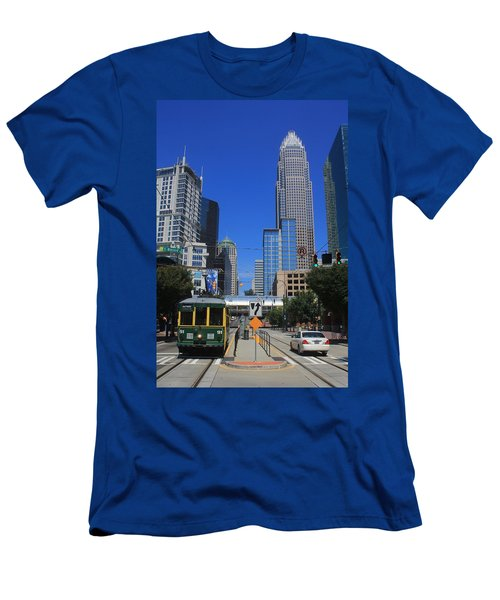Downtown Charlotte Trolley 1  Men's T-Shirt (Athletic Fit)