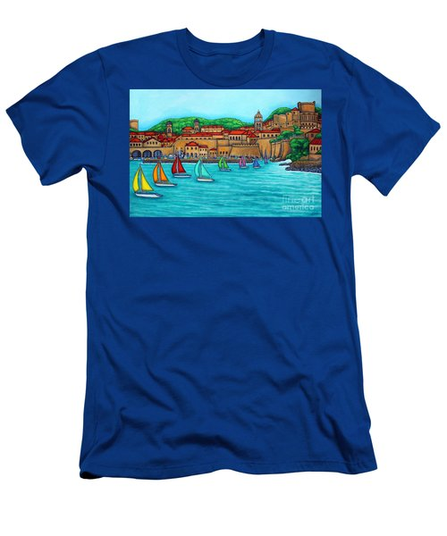 Men's T-Shirt (Athletic Fit) featuring the painting Dubrovnik Regatta by Lisa  Lorenz