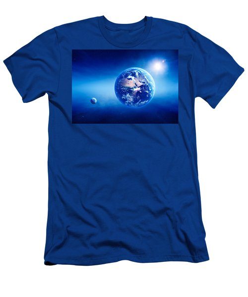 Earth Sunrise Deep Space Men's T-Shirt (Athletic Fit)