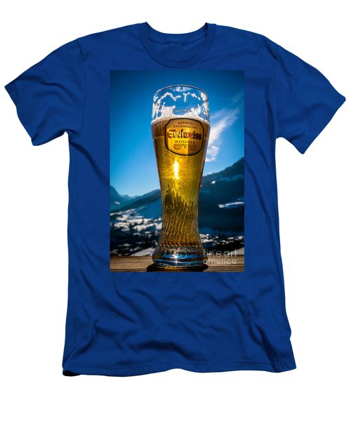 Men's T-Shirt (Athletic Fit) featuring the photograph Edelweiss Beer In Kirchberg Austria by John Wadleigh