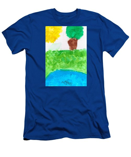 Men's T-Shirt (Slim Fit) featuring the painting El Paisaje by Artists With Autism Inc