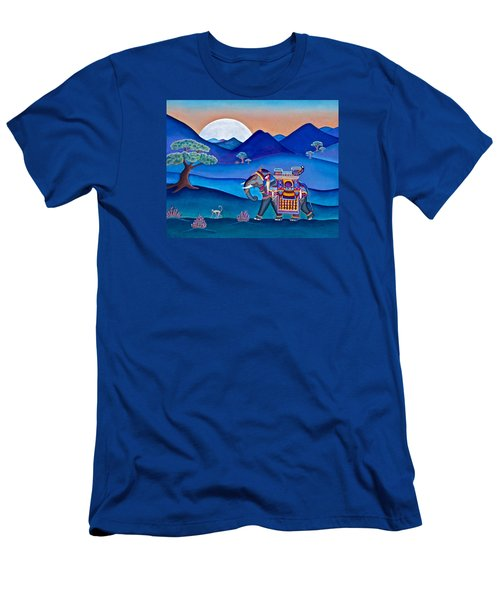 Men's T-Shirt (Slim Fit) featuring the painting Elephant And Monkey Stroll by Lori Miller