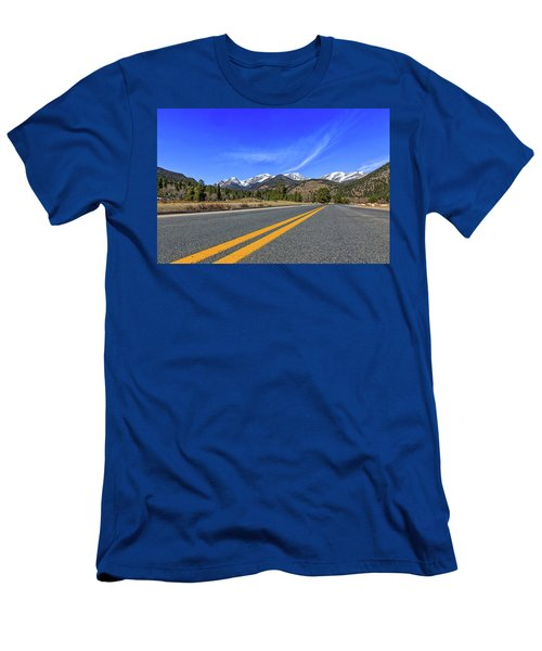 Men's T-Shirt (Slim Fit) featuring the photograph Fall River Road With Mountain Background by Peter Ciro