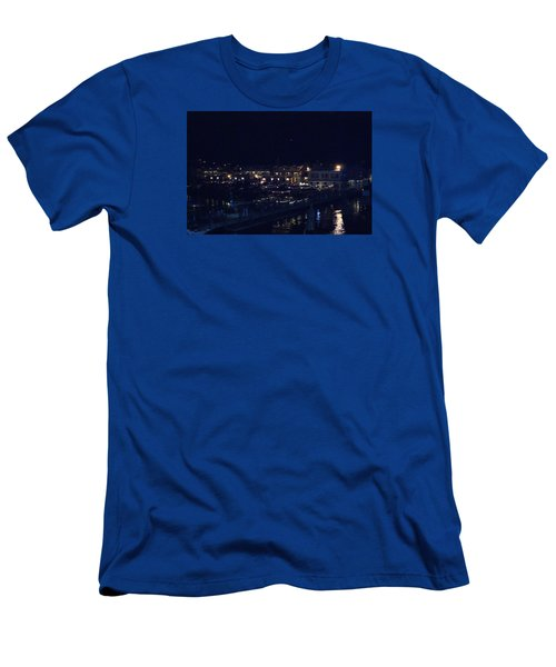Men's T-Shirt (Slim Fit) featuring the photograph Festive Harbor Lights by Margie Avellino