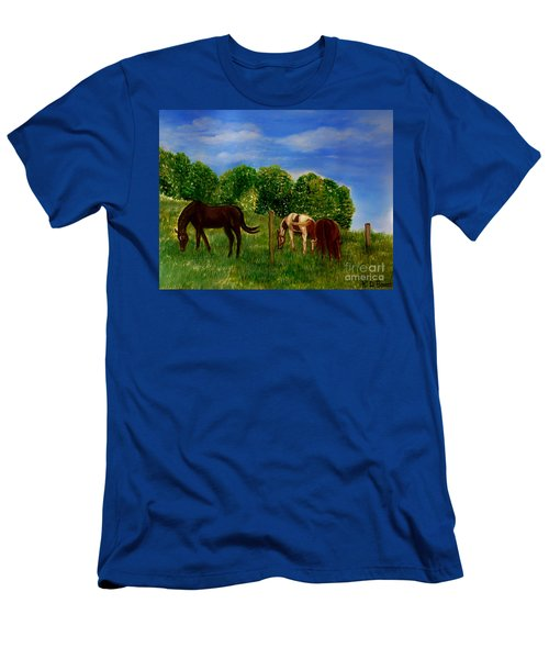 Field Of Horses' Dreams Men's T-Shirt (Slim Fit) by Kimberlee Baxter