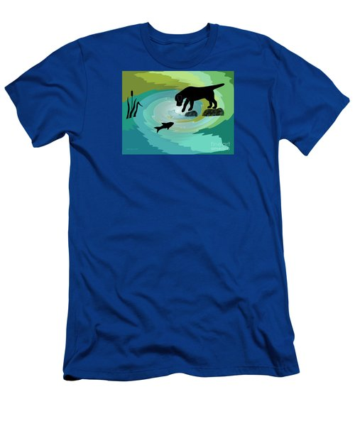 Fishing Labrador Dog Men's T-Shirt (Athletic Fit)