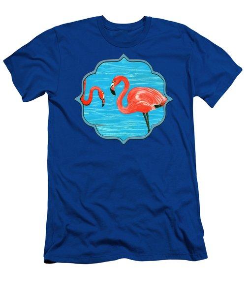 Men's T-Shirt (Athletic Fit) featuring the painting Flamingos by Anastasiya Malakhova