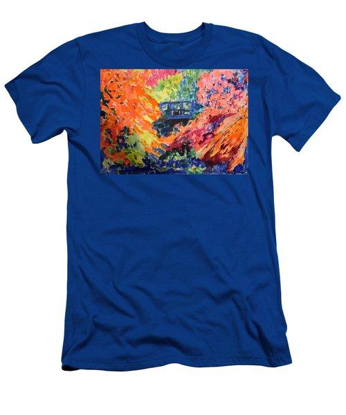 Floral View Of The Bridge Men's T-Shirt (Slim Fit) by Esther Newman-Cohen