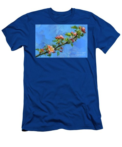 Flowering Apple Branch Men's T-Shirt (Slim Fit) by Dragica Micki Fortuna