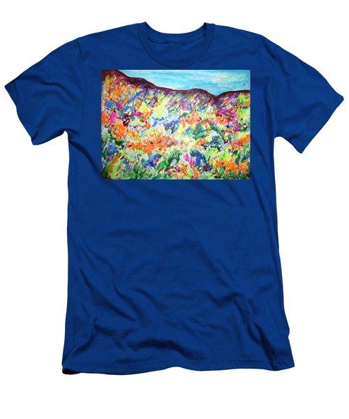 Flowering Hills Men's T-Shirt (Slim Fit) by Esther Newman-Cohen