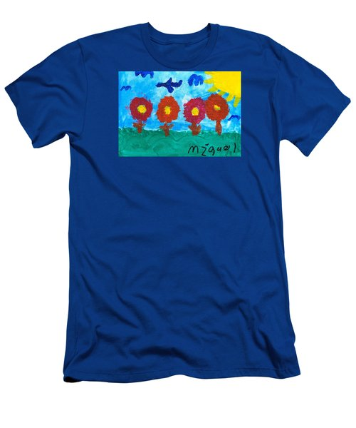 Men's T-Shirt (Slim Fit) featuring the painting Flowers And Airplane by Artists With Autism Inc