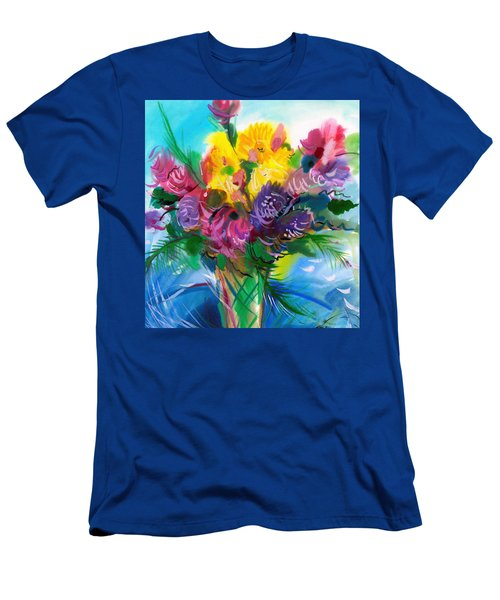 Men's T-Shirt (Slim Fit) featuring the painting Flowers For My Jesus by Karen Showell
