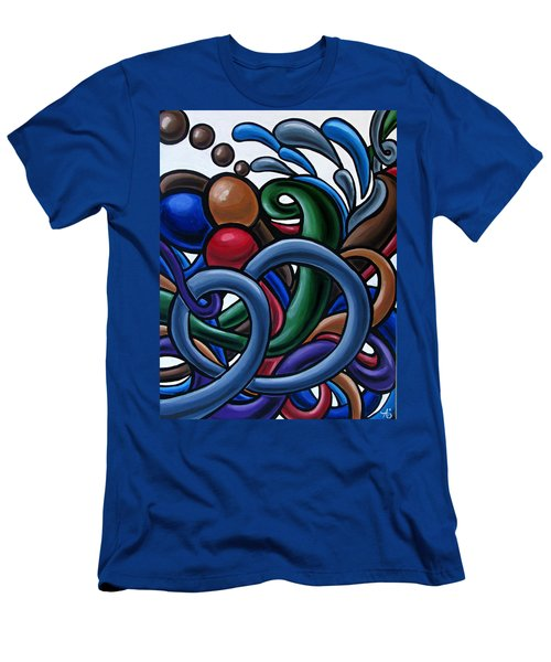 Colorful Abstract Art Painting Chromatic Water Artwork Men's T-Shirt (Athletic Fit)