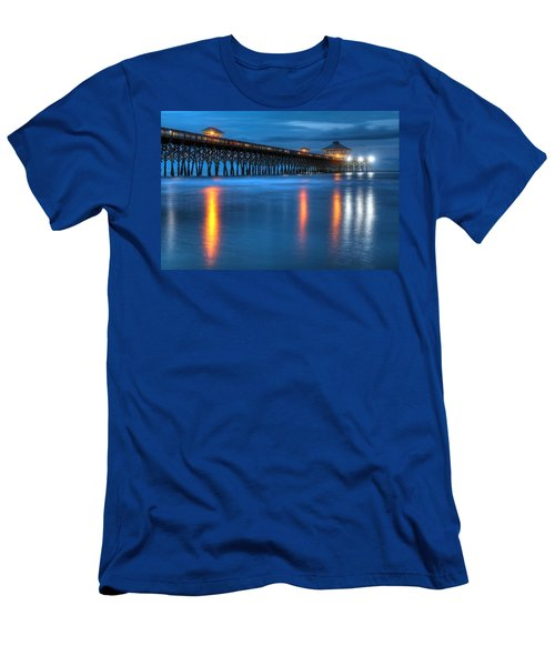 Folly Beach Pier At Blue Hour Charleston South Carolina Men's T-Shirt (Athletic Fit)